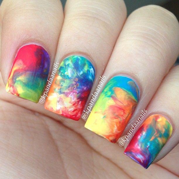 Book Cover Watercolor Nails ~ Nail art watercolor bubbles look book street fashion